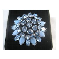 Vintage Beautiful Big Blue Vintage Schreiner Signed Rhinestone Earrings