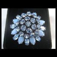 Vintage Beautiful Big Blue Vintage Schreiner Signed Rhinestone Earrings