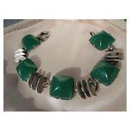 Vintage Apple Green Chrysoprase and Sterling Art Deco Link Bracelet