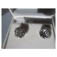 Shop Special! Vintage Eisenberg Extra Large Clear Rhinestone Earrings 1945-1958