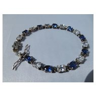Shop Special! Vintage Art Deco Tennis Bracelet with Diamond and Sapphire CZ Made in Czech