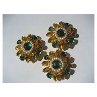 Enormous Vintage Circa 1970 Prong Set Rhinestone Floral Buttons with Faux Pearls