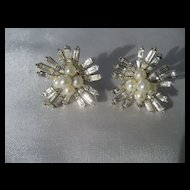 Vintage Boucher Faux Pearl and Rhinestone Earrings
