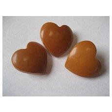 Vintage Bakelite Carved Figural Heart Buttons Set of 3