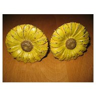 Vintage Art Deco Pair of Figural Cast Iron Yellow Sunflower Drapery or Curtain Tie Backs