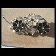 Wonderful Vintage Rhinestone Black and White Coro Floral Spray Brooch