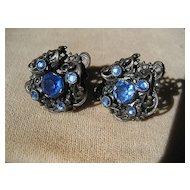 Vintage Art Deco Rhinestone Czech Earrings in Sterling Silver
