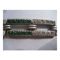 Vintage Art Deco Sterling Silver Emerald Green and White Paste stones Link Bracelet