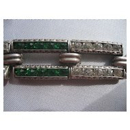 Vintage Art Deco Sterling Silver Emerald Green and White Paste stones Link Bracelet