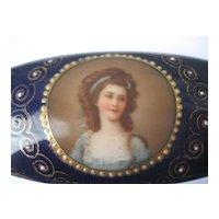 A Fabulous Antique Royal Vienna Hand Painted Miniature Portrait Porcelain Trinket / Jewelry Box Victorian Period
