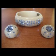 Vintage Unsigned Weiss Baby Blue Bracelet Clamper and Earring Demi