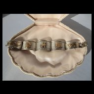 VIntage Aztec Bracelet in 18K Gold and Sterling with Figural Accents ~ Art Deco Period
