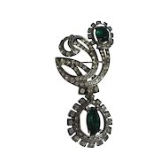 Vintage Early Eisenberg Sterling Silver Brooch Emerald Green Rhinestones and Paste