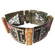Fabulous Vintage Bakelite and Enamel Link Bracelet ~ Book Piece ~ Art Deco