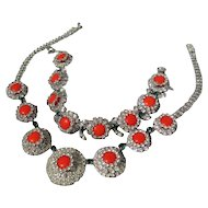 Vintage Rhinestone Hobe Demi Parure Necklace and Bracelet ~ 1965
