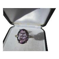 Large 4 carat Vintage Purple Amethyst Ring in Crown Setting ~ Art Deco