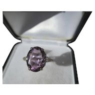 Large 4 carat Vintage Purple Amethyst Ring in Crown Setting ~ Art Deco