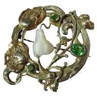 Wonderful Antique Art Nouveau Brooch with MOP and Green Paste Stones Rolled Gold ~ Extra Large Scale