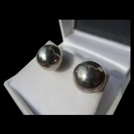 Vintage Huge Sterling Silver Round Ball Earrings ~ Retro Period