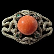 Antique Four Headed Serpent Brooch Sterling and Paste ~ Edwardian Period