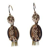 Antique True Day / Night Victorian Tassel Gold Pearl and Enamel Dangle Earrings