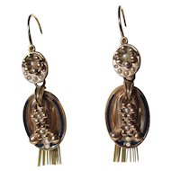 Antique True Day / Night Victorian Tassel Gold Pearl and Enamel Dangle Earrings