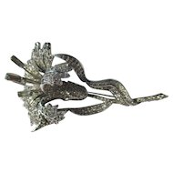 Spectacular Rhinestone Dujay, Boucher or Mazer Enormous Pave Rhinestone Lily Brooch Pin ~