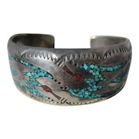 Vintage Native American Indian Navajo Sterling Silver Turquoise Coral Figural Bird Cuff Bracelet