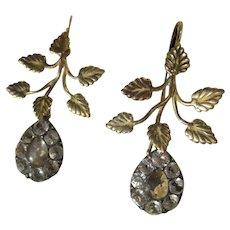 Shop Special! Rare Antique Black Dot Rock Crystal 18K Gold Dangle Earrings ~ Georgian Era