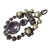 Shop Special! Antique Georgian Pendant with Amethyst ~ Rubies ~ Diamonds and Pearls ~ Circa 1760