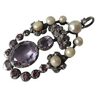Grand and Impressive Antique Georgian Pendant with Amethyst ~ Rubies ~ Diamonds and Pearls ~ Circa 1760