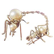 Unique Antique Double Spider Brooch Duo 10K Yellow Gold ~ Faux Pearls ~ Victorian Era