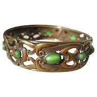 Antique Brass and Jade Colored Art Glass ~ Nouveau Bangle ~ Bracelet