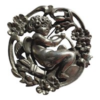 Antique Art Nouveau Silver Cupid Brooch ~ Extra Large Scale 54 Grams..