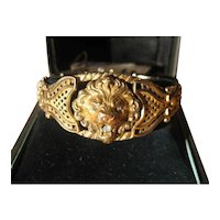 Antique Figural Rolled Gold Lion Link Bracelet with Paste ~ Victorian Period