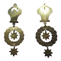 Shop Special! Unique Antique Flower Basket Dangle Earrings ~ Early Victorian Period