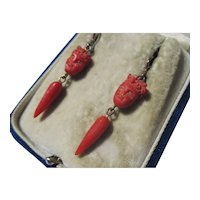 Antique Red Carved Coral Dangle Earrings ~ Gold Wires ~ Victorian