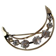 Scarce Antique Cushion Cut Paste Crescent Moon Brooch in 12K Yellow Gold ~ Victorian Era
