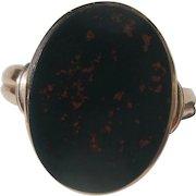Antique 15K Rose Gold Bloodstone Signet Ring ~ Victorian Period