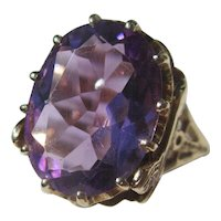 Shop Special! Vintage Egyptian Revival 7 Carat Amethyst Ring