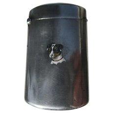 Antique Sterling Silver Match Safe w/ Enamel Dog Terrier C 1900