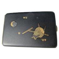 Vintage Amita Japanese Damascene Okame and Devil Mask  Rare Cigarette / Playing Card Case