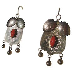 Antique Large Scale Gold and Coral Italian Earrings ~ Victorian
