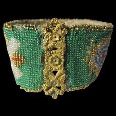 Antique Micro Beaded Georgian Bracelet British Union Jack Flags ~ Museum Piece
