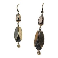 Shop Special!  Antique Gold Leaf Garnet Dangle Earrings ~ Victorian