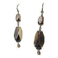 Shop Special!  Antique Gold Leaf Garnet Dangle Earrings ~ Victorian
