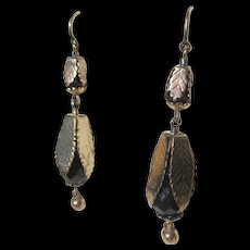 Exceptional Antique Gold Leaf Garnet Dangle Earrings ~ Victorian