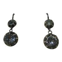 Antique True French Paste Dangle Earrings ~ 6 3/4 carats Georgian Circa 1800
