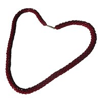 Antique Natural Bright Red Natural Woven Garnet Necklace ~ Edwardian