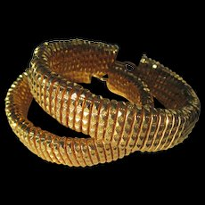 Shop Special! Sensational Gold EP Pair of Diamond Faceted French cut wire Bangle / Bracelets Egyptian Revival
